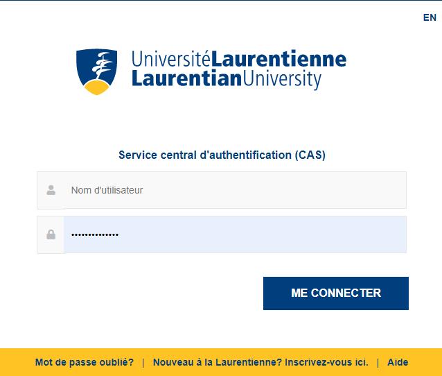 ecran pour entrez votre nom d'utilisateur et votre mot de passe pour Laurentienne