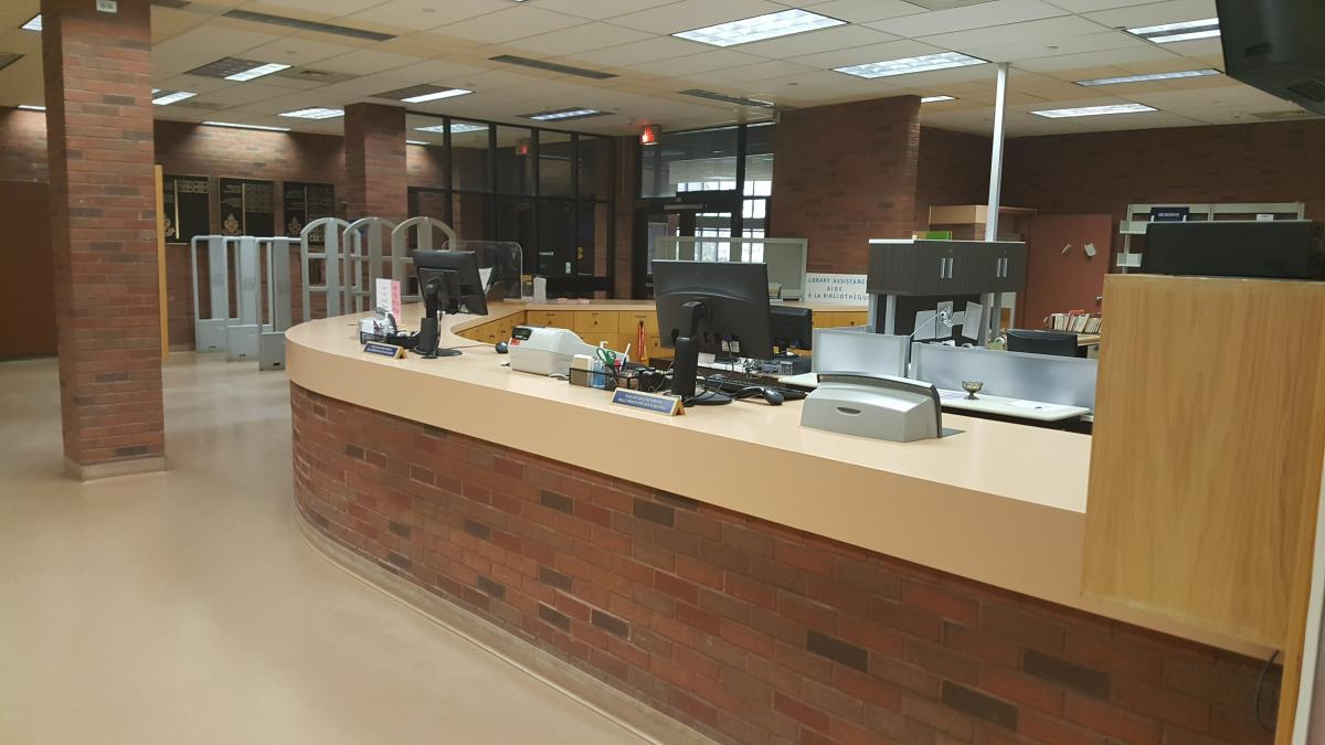 Photo of J.N. Desmarais Library circulation desk
