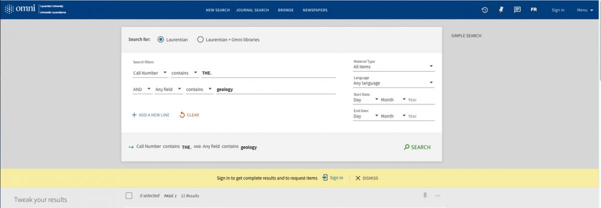 Omni search screen