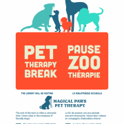 Poster advertising the next Pet Therapy session