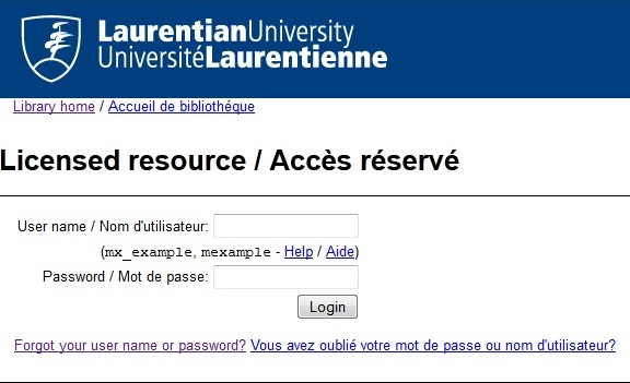 Laurentian University Proxy Login Screen